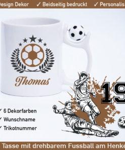 Startbild Fußball Tasse gestalten mit drehbarem Fußball am Henkel