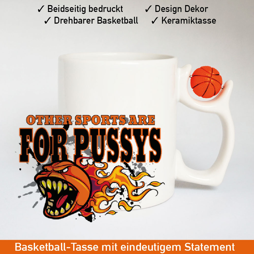 Basketball Logo Tasse mit drehbarem Basketball am Henkel Motiv 1