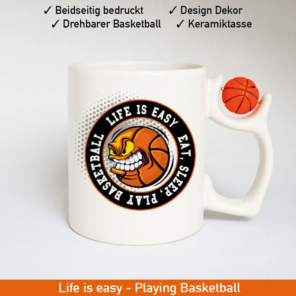 Basketball Logo Tasse mit drehbarem Basketball am Henkel Motiv 2