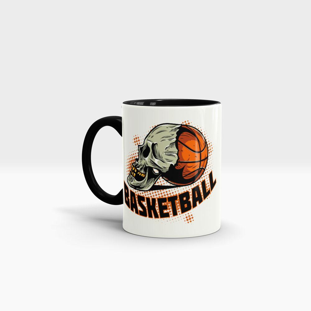 Basketball Motiv Kaffeebecher Ansicht links