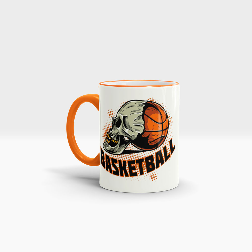 Basketball Tasse bedrucken mit coolem Logo Ansicht links