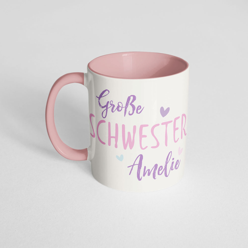 Große Schwester Tasse mit Einhorn und Name rosa Henkel Ansicht links