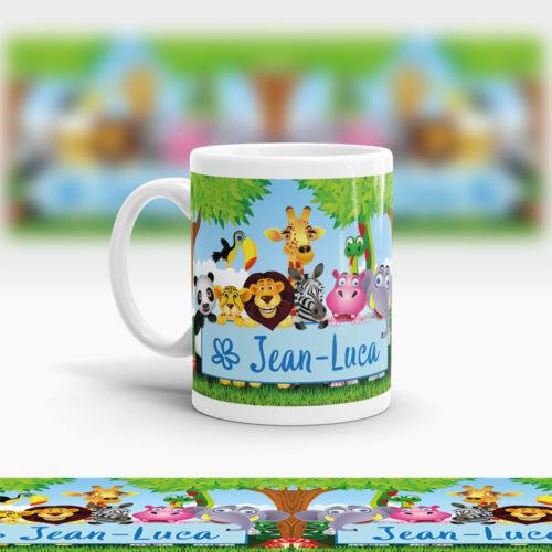 Kunststoff Kinder Tasse mit Dschungeltieren Ansicht links