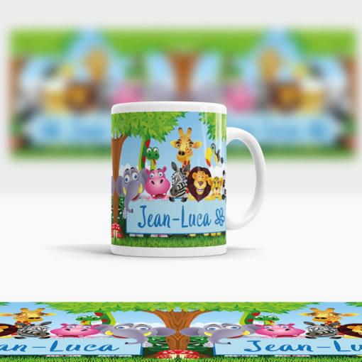 kunststoff Kinder Tasse mit Dschungeltieren Ansicht rechts