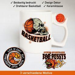 Basketball Logo Tasse mit drehbarem Basketball am Henkel