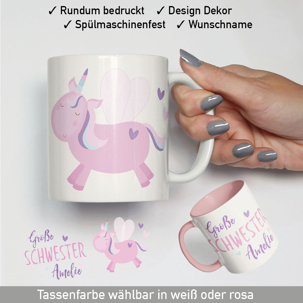 gro e schwester tasse mit namen einhorn geburtstag geschenk m dchen kinder ebay. Black Bedroom Furniture Sets. Home Design Ideas