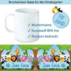 Kunststoff Kinder Tasse mit Dschungeltieren