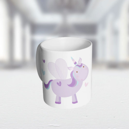 Einhorn Kunststoff Tasse mit Wunschnamen