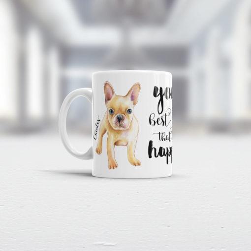 Geschenk französische Bulldogge Tasse Ansicht links