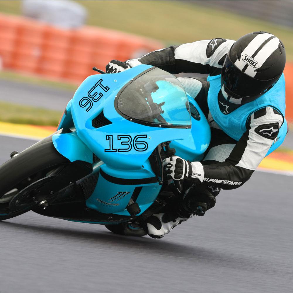 Motorrad Rennsport Nummer einfarbige Ausführung