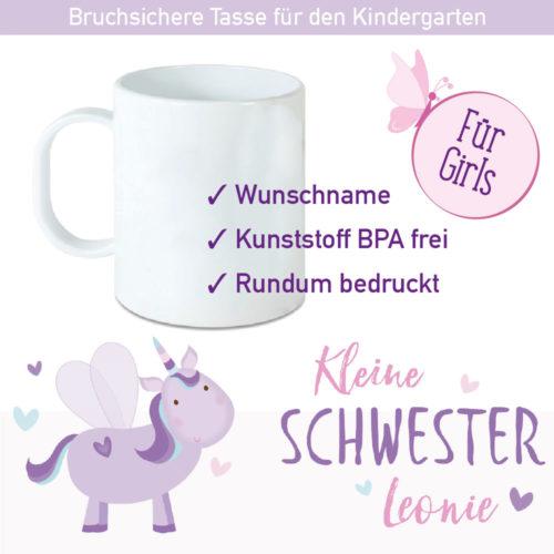 Startbild Einhorn Kunststoff Tasse mit Wunschnamen
