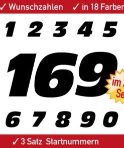 3er Set Startnummern für Fahrzeuge
