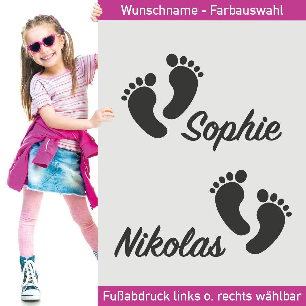 Aufkleber Fußabdrücke Babyfüße Name Füße Fuß Abdruck Abdrücke