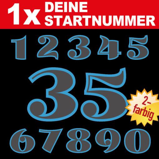 zweifarbige Startnummer für Auto und Motorrad