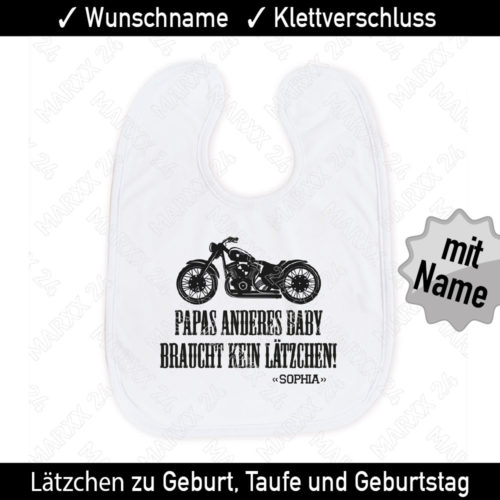 Baby Lätzchen Chopper Motorrad und Wunschname