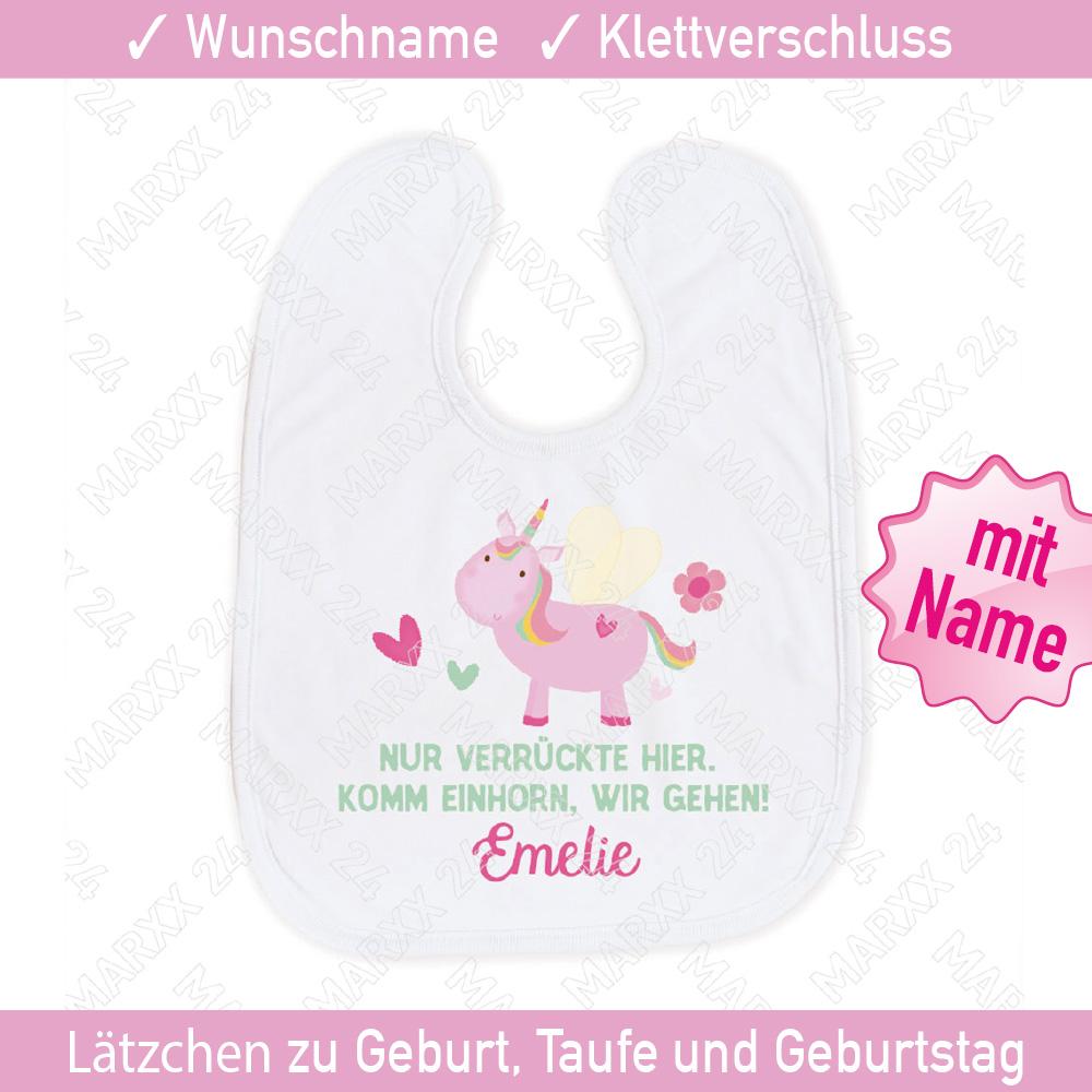 Babylätzchen Motiv Einhorn Wunschname