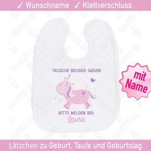 Babylätzchen Einhorn Wunschname