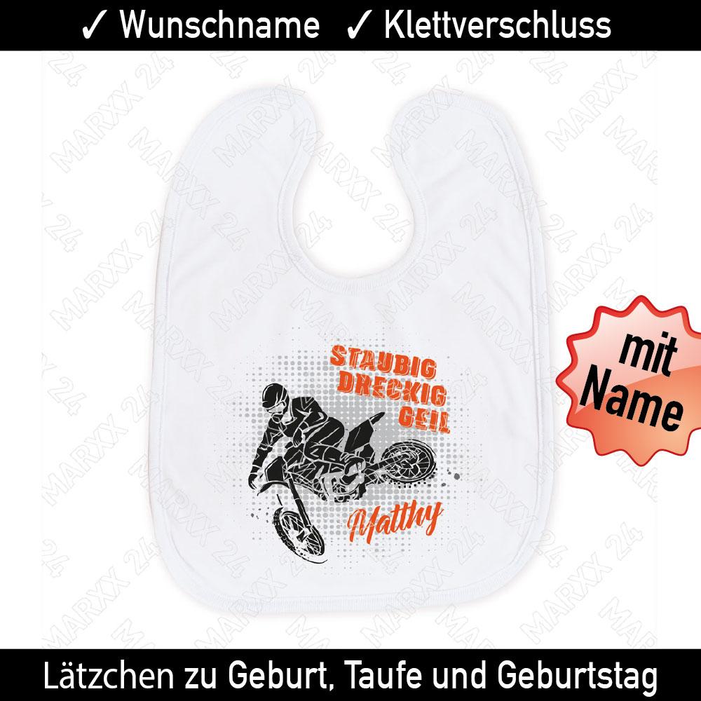 Babylätzchen Motocross Wunschname