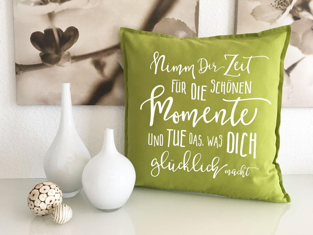 bedruckte deko kissen sofakissen 50x50 mit spruch sofa kuschelkissen. Black Bedroom Furniture Sets. Home Design Ideas