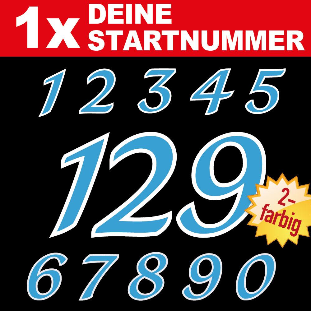 Startnummer für Motorrad Aufkleber zweifarbig in verschiedenen Größen