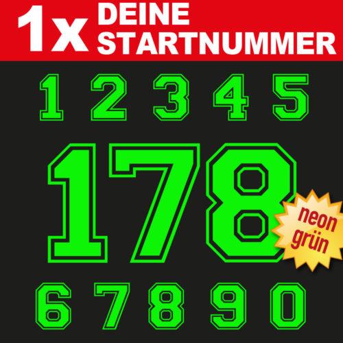 BMX Startnummer in neongrün