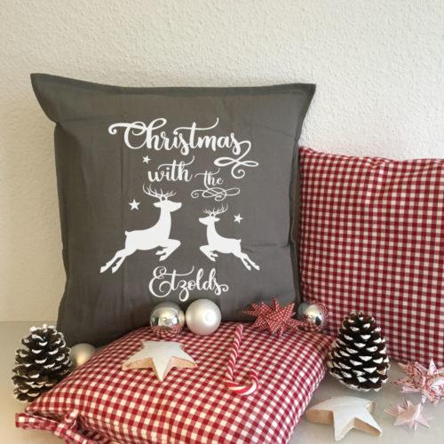 Kissen Dekoration für das Weihnachtsessen mit der Familie
