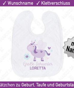 Baby Lätzchen mit Wunsch-Name süßes Einhorn für Mädchen in rosa