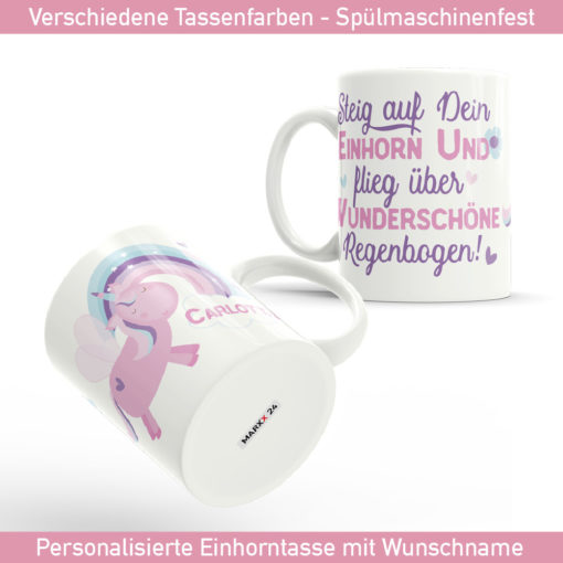 Einhorn Regenbogen Tasse mit Wunschname