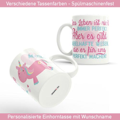 Einhorn Sprüche Tasse mit Wunschname