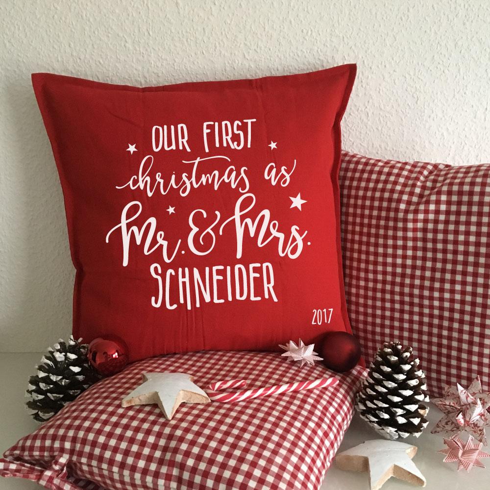 Geschenk Familie Weihnachten - bedrucktes Kissen mit Familien Name