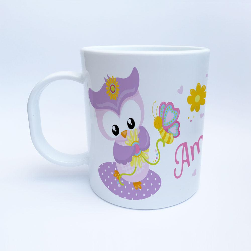 Kunststoff Eulen Tasse mit Name