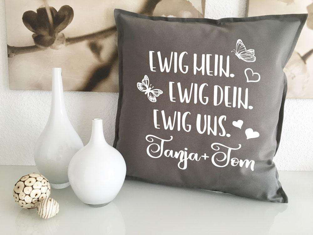 kissen ewig mein ewig dein ewig uns hochzeit geschenk mit namen. Black Bedroom Furniture Sets. Home Design Ideas