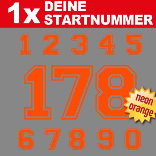 Fahrrad Startnummer in neon orange