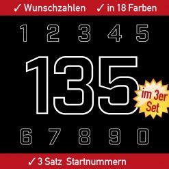 Freigestellte Startnummern für Fahrzeuge