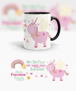 Freundin Tasse mit rosa Einhorn