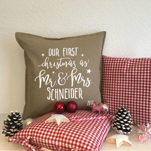 Bedrucktes Kissen Geschenk Familie Weihnachten