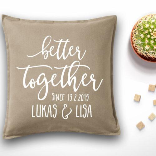 Kissen als Hochzeitsgeschenk plus Namen