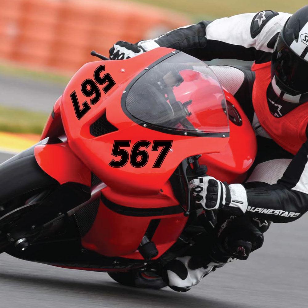 Individuelle Startnummer für ein Motorrad
