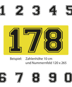 Kart Racing Ziffern mit gelber Untergrundfolie
