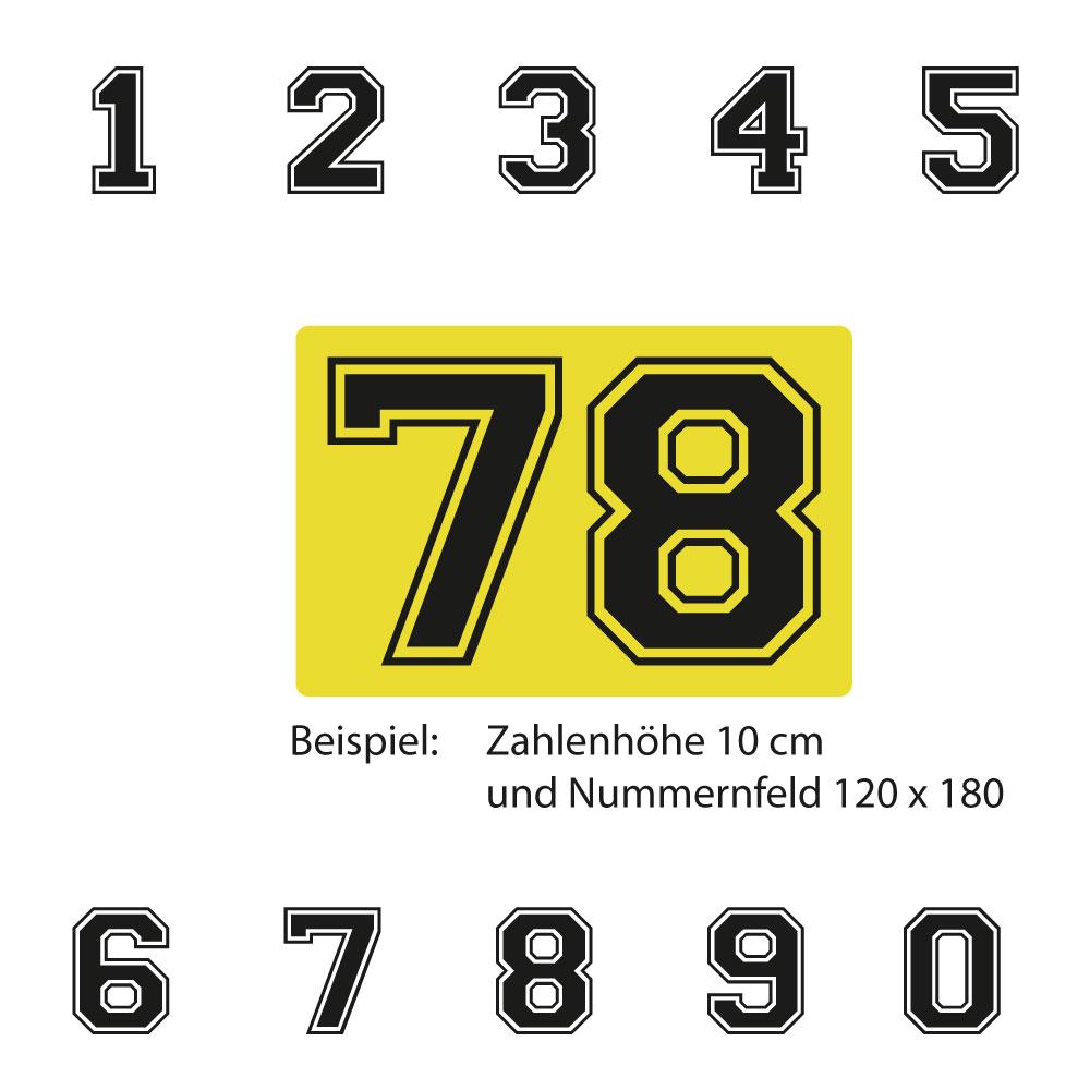 Kart Startnummer mit gelber Untergrundfolie