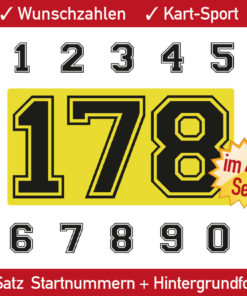 Kart Startnummern in 10 cm Höhe