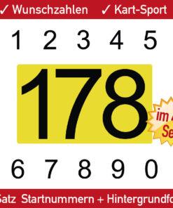 Kartsport Ziffern mit gelber Untergrundfolie