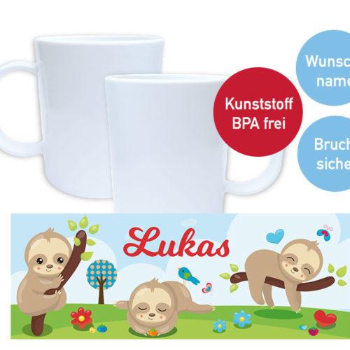 Kinder Kunststoff Tasse mit Namen