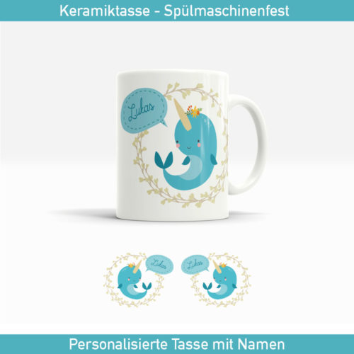 Kinder Narwal Tasse in türkisblau