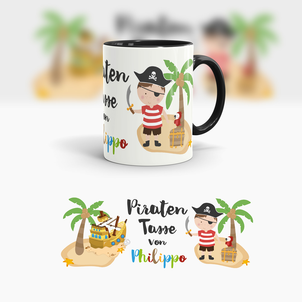kinder piraten tasse bedrucken piratentasse geschenk kindertasse pirat. Black Bedroom Furniture Sets. Home Design Ideas