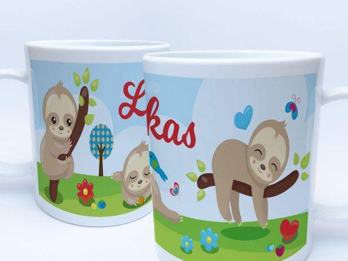 Kinder Kunststoff Tasse Kindergartentasse Motiv Faultier