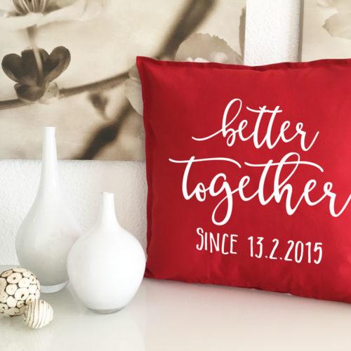 Kissen Geschenk Liebe mit Datum