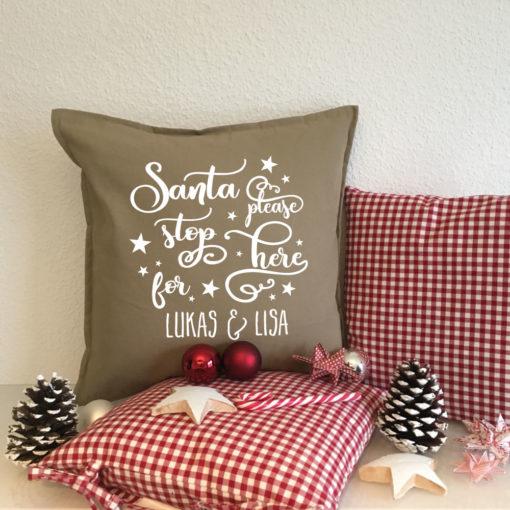 Deko Kissen Weihnachten Santa mit Namen