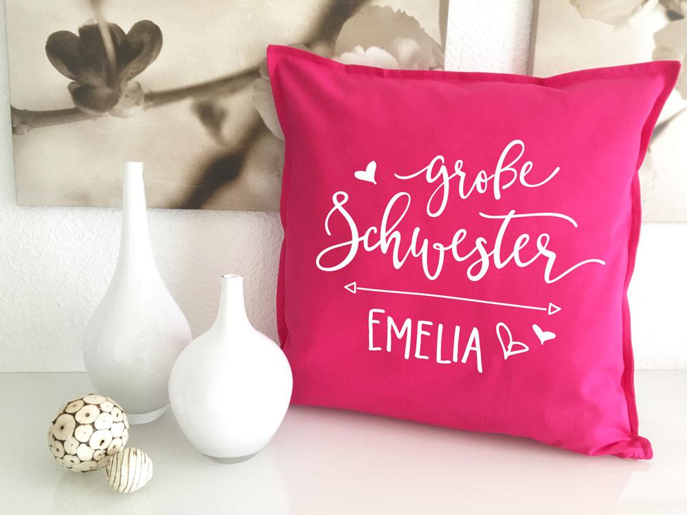 gro e schwester kissen mit name originelles geschenk schwesterherz. Black Bedroom Furniture Sets. Home Design Ideas