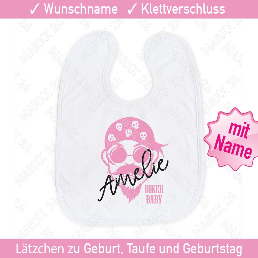 Mädchen Baby Biker Sabberlatz mit Wunschnamen